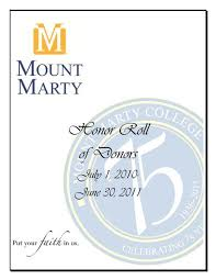 Honor Roll of Donors - Mount Marty College