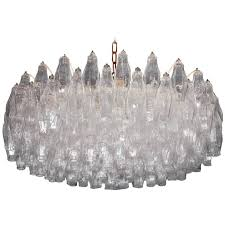huge polyhedral murano glass chandelier in the style of carlo scarpa circa 1964 for