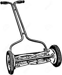 lawnmower drawing. white lawnmower drawing