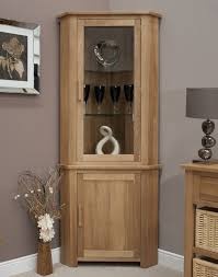eton solid oak furniture corner display cabinet unit with light