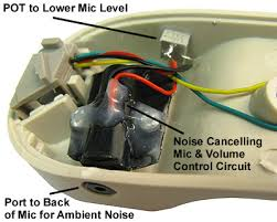 amplified noise cancelling push to talk push to mute and on the left is a noise cancelling mic in a typical handset the port to the rear of the mic and the volume control pot to lower the mic level for the