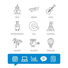 Lighthouse Symbol On A Chart Cruise Airplane And Helicopter Icons Palm Tree Shell And