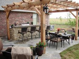 Simple Outdoor Kitchen Charming Outdoor Kitchen Cabinets With Simple Wooden Pergola Plus