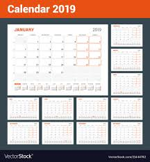 Calendar Planner For 2019 Year Set Of 12 Pages