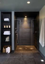 dual shower head for two people. Head Start Fargo With Contemporary Bathroom Also Baseboards Gray Walls Open Shower Pebble Tile Rain Showerhead Dual For Two People O