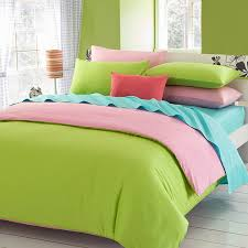 pink green solid duvet covers