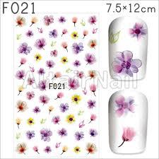 メルカリ F021ネイルシール 花 フラワー 水彩 カラフル パープル 紫