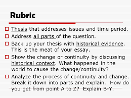 change and continuity over time essay ppt  4 rubric