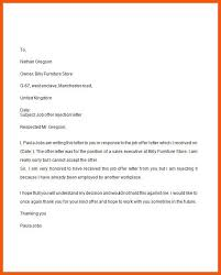 Rejecting An Offer Letter Job Offer Decline Letter Mwb Online Co