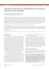 Screen Based Design Pdf Navimation Exploring Time Space Motion In The