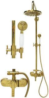 Retro Duschset Duschsystem Brauseset Dusche Regendusche Gold 1400246