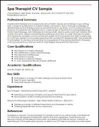 How To Make A Curriculum Vitae Fascinating Spa Therapist CV Sample MyperfectCV