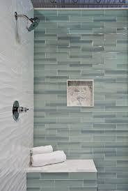 rectangle soaking bathtub modern pedestal vanity and glass vessel sink combo jet showerhead cream shower curtain soap dish towel bars mirrored wall cabinet