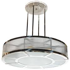 streamline art deco style circular chandelier in polished nickel glass