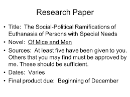 research paper title the social political ramifications of research paper title the social political ramifications of euthanasia of persons special needs