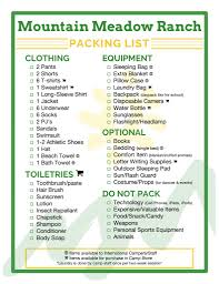 Packing List Mountain Meadow Ranch Youth Summer Camp