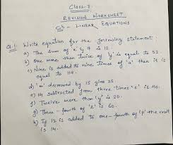 class 7 maths revision worksheet linear equation