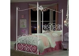 V. Watts Furniture Princess White Full Metal Canopy Bed