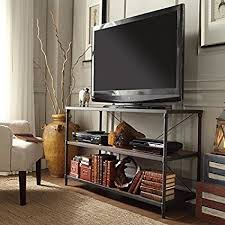 TRIBECCA HOME Harrison Industrial Rustic Pipe Frame TV Stand Finish Brown Rustic Industrial Tv Stand N34