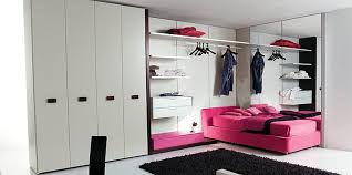 chic and fashionable teen girl bedroom decor ideas with pink fabric upholstered beds on the white architectural mirrored furniture design ideas wood