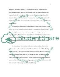 Essay About Critical Thinking The Importance Of Critical Thinking Essay Example Topics