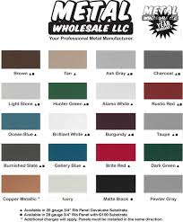 2018 Color Chart Metal Wholesale Llc