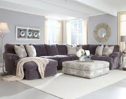 furniture grey sectional couch decorating idea with square white patterned fabric ottoman matched with cushions
