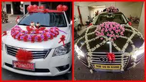 beautiful wedding car decoration bridal car flowers decoration