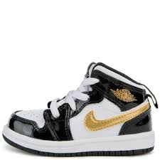 td jordan 1 mid se black metallic gold white toddler infant kids