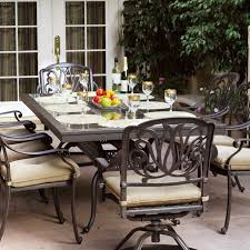 darlee elisabeth 9 piece cast aluminum patio dining set with granite top table ruby granite