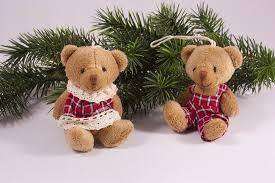 Zwei Lustige Teddys Rot Kariert Eine Tolle Dekoration Für Den Weihnachtsbaum