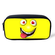 details about funny emoji kids supplies pen bag stylish pencil case holder makeup pouch