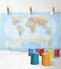 world map modern wall mural from in mani