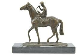 dels about horse jockey racing equine art tribute thoroughbred bronze marble statue gift