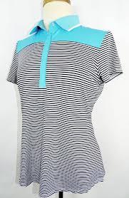 details about new women s cutter buck blue navy white striped short sleeve polo shirt m oa
