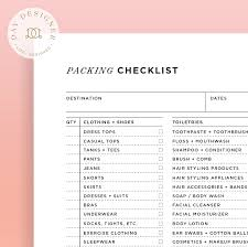 Packing Check List Packing Checklist