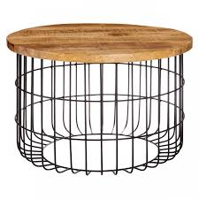 crest round wooden coffee table