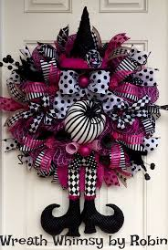 Halloween Pink & Black Deco Mesh Witch Wreath, Fall Wreath, XL Witch Wreath,