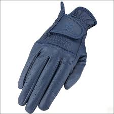heritage stretchable synthetic flex leather horse riding gloves navy zoom