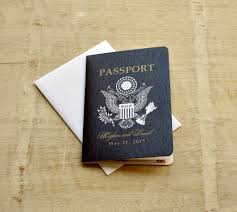 Us Passport Design Save The Date Wedding Passport Design Fee Us Traditional Emblem With Palm Tree And Starfish