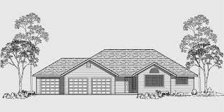 house side elevation view for 10003 one story house plans 3 car garage house plans