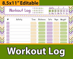 Daily Exercise Log Workout Tracker Planner Daily Workout Log Exercise Journal Etsy