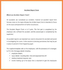 Accident Report Form Template Reporting Procedure For Resume