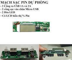 Mạch sạc dự phòng pin 18650,Mạch sạc dự phòng 2A 2 cổng ra có LCD hiển thị  dòng sạc và % pin mã BQ-U8V1.3