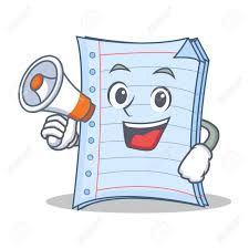 vector with megaphone notebook character cartoon style