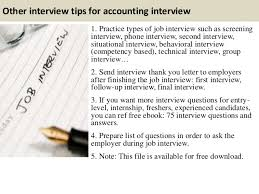 Accounting Interview Tips Under Fontanacountryinn Com