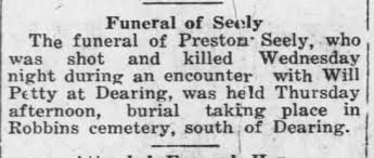 Funeral for Preston Seely. 26 Mar 1914 Coffeyville Daily Journal (KS) -  Newspapers.com