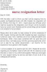 Nurse Resignation Letter Interesting Formal Resignation Letter Sample Nurses Letters Of For Nurse In Word