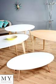retro solid oak or lacquered white round oval dining coffee table wood vintage