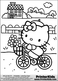 What about coloring this beautiful coloring page with hello kitty and her friends mimmy and fifi going to school? Hello Kitty Summer Coloring Sheets Page 1 Line 17qq Com